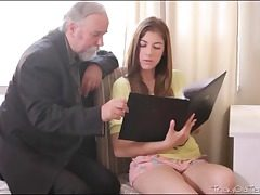 Sloppy aged guy inhales her nubile bra-stuffers