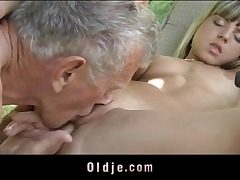 Puny nubile has super hot outdoor hookup with grandpa