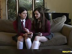 Two schoolgirls giving their fresh cooters