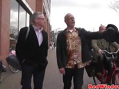 Youthful dutch whore gives an old sloppy tourist whos teeth fall out a taste of his own cum