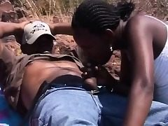 African Dark-hued Teenies Blowjob Outdoors Four-way