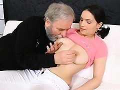 Youthful playgirl gets seduced by a excited old fucker
