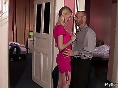 Blonde girl caught adultery with older guy
