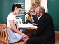 Old teacher is pleasing lovely babe's wet violate