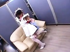 Lovely Chinese teen in stockings gets her tight cunt dri