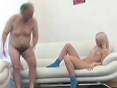 Enchanting young honey gives sultry rail to an old dude