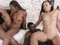 Ebony mom and daugter's nice facial