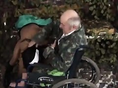 Nurse luvs riding handicapped old stud in wheelchair