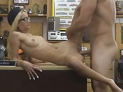 Highly slender blond sucks off and nailed by pawnshop holder