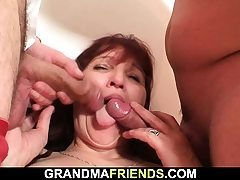 Older mature female swallows 2 cocks at once