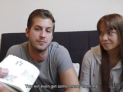 HUNT4K. Couple is in need of cash for hotel so why girl...