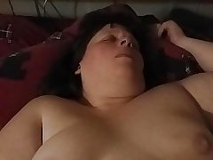 Plus-size Wife wanking with her toy.