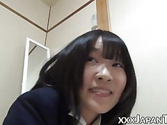 Super-steamy Japanese college girls farting into each others face
