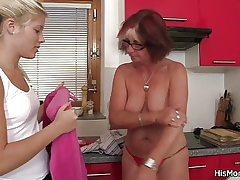 Twink gets angry found his mom and gf toying
