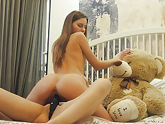 Lesbian school roomies strapon dildo sex with teddy bear