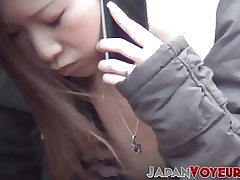 Young Japanese damsels filmed going naughty in the city