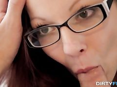 Inked nerdy dame romped great
