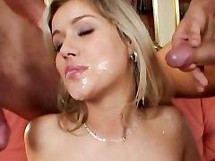 Gorgeous horny blonde gets filled by two dick