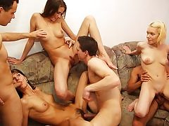 Super-sexy naked party flick with steaming group porking