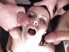 Three way hardcore fucking in foursome