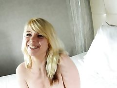 Amazing french blonde rails stiff dick on cam