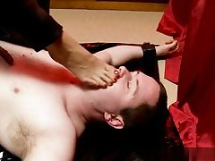 Horny boy gets dominated over him and she is walking all over his body