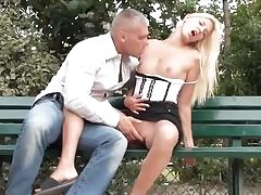 Bony blonde making out with her boyfriend outdoors and rides his shaft