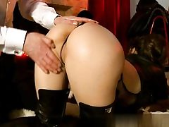 Sassy babe dressed in her high shoes getting her great round booty slapped