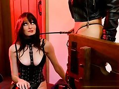 Gorgeous dressed whores posing BDSM movie sexually manhandling each other