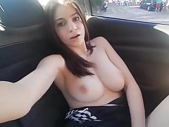Horny honey gets yam-sized humid orgasm in her car rubbing her honeypot