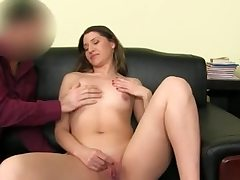 Super-steamy stunner unwraps nude and thumbs her smooth-shaven puss fuckhole