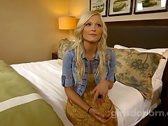 Nubile platinum-blonde disrobes nude and blows a meaty and tastey ravage stick