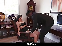 Asian hotty seducing a black dude and rails his penis